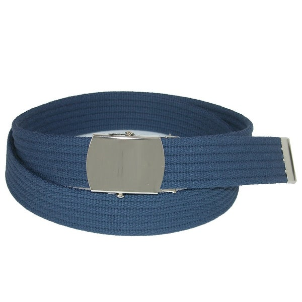CTM® Ribbed Fabric Belt with Nickel Buckle - One size