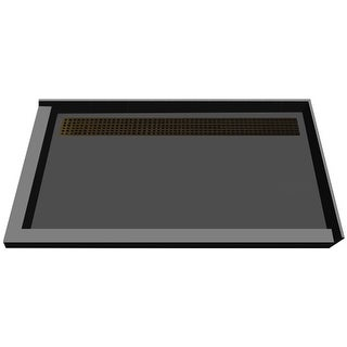 """Tile Redi RT4872BDL-PVC  Redi Trench 72"""" X 48"""" Corner Shower Pan with Double Threshold and 2"""" Rear Drain"""