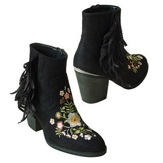 Embroidered Boots - Faux Suede Floral Booties