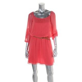 Speechless Womens Juniors Casual Dress Gauze Scoop Neck - S