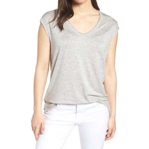 Caslon Gray Womens Size Large L Space-Dyed Scoop Neck Knit Top