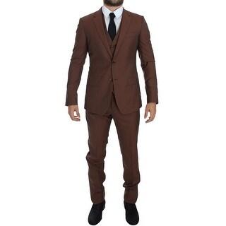 Dolce & Gabbana Brown Silk Wool 3 Piece Slim Fit Suit