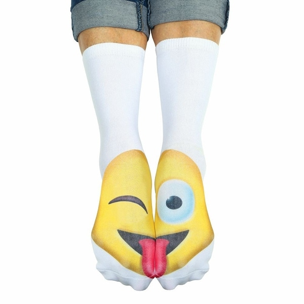 Unisex Adult Wink Emoji Crew Socks - Matching Text Speak Emoticon Print