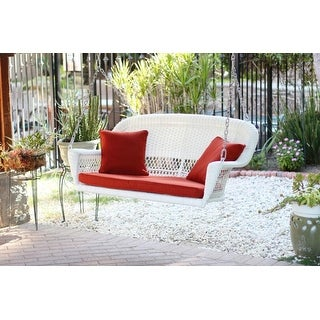 "51.5"" Hand Woven White Resin Wicker Outdoor Porch Swing with Red Cushion"