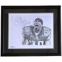 Brian Dawkins Signed Framed 16x20 Philadelphia Eagles Word Art Photo HOF 18 JSA