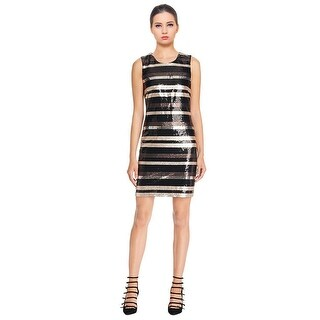 Laundry by Shelli Segal Sequin Striped Sleeveless Cocktail Dress - 12