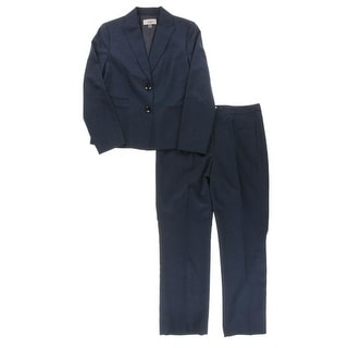 Le Suit Womens Pant Suit Textured Two Button