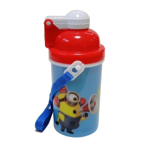 New Minions Bee-bo Canteen w/ Popup Lid & Straps Water Bottle Tumbler Cup