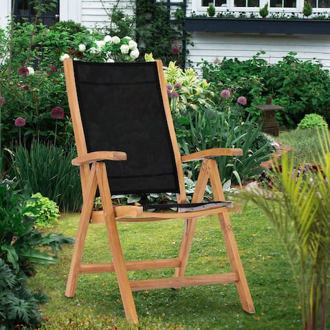 Chic Teak California Teak Wood Reclining Chair with Black Batyline Sling