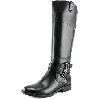 Marc Fisher Audrey Women W Round Toe Leather Black Knee High Boot