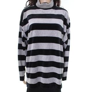 Gallery NEW Gray Striped Women's Size Medium M Turtleneck Mock Sweater
