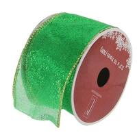 """Shimmering Green Solid Wired Christmas Craft Ribbon 2.5"""" x 10 Yards"""