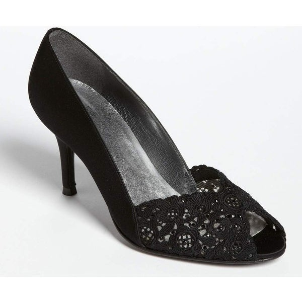 Stuart Weitzman NEW Black Chantelle Shoes 10.5M Open Toe Heels