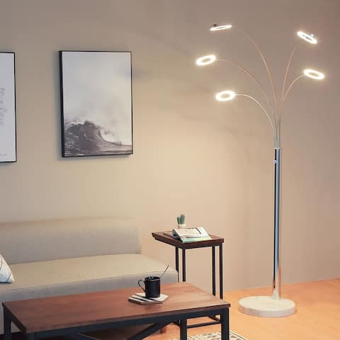 CO-Z Modern 73-inch Chrome Finish Floor Lamp with 5 Dimmable Lights