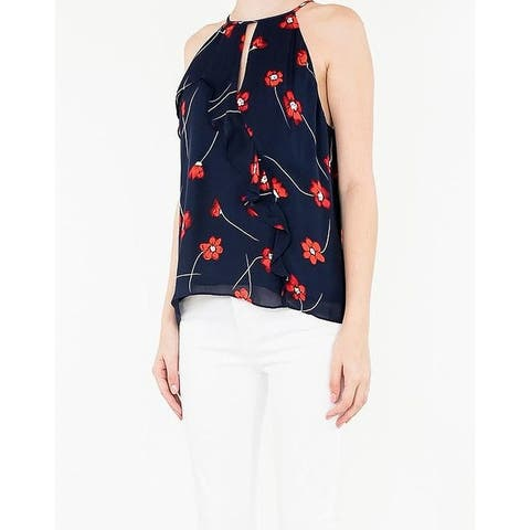 Parker Women's Blue Size Small S Floral Print Halter Silk Cami Top