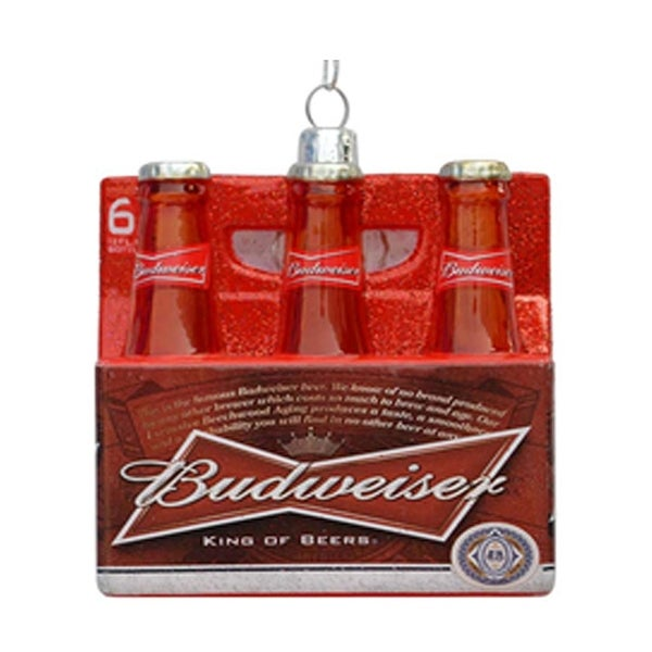 """3.5"""" Budweiser Six-Pack Glass Beer Bottle Ornament - RED"""