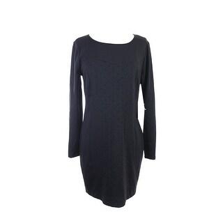 Kensie Black Long-Sleeve Colorblocked Dot-Print Dress S