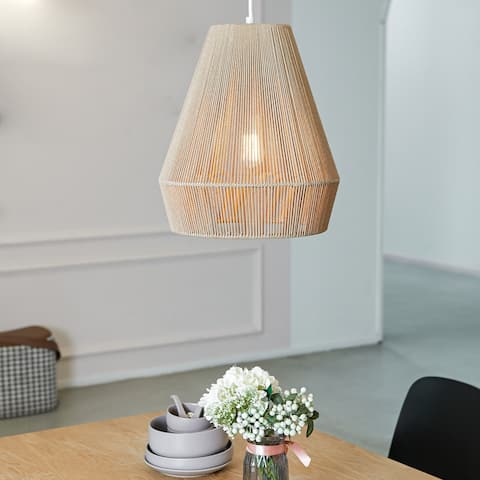 Grant 1-Light Twine and Matte White Pendant Lighting - 14