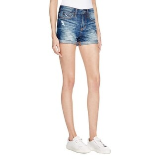 Jean Shop Womens Hannah Denim Shorts Destroyed Cuffed