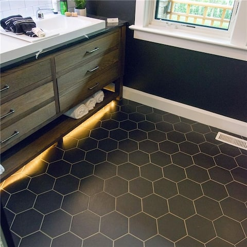 SomerTile 7x8-inch Hextile Matte Nero Porcelain Floor and Wall Tile