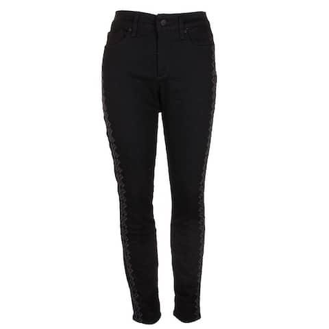 Nydj Black Rinse Ami Embroidered Skinny Jeans