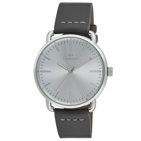 4 Colors Available- Gianello Mens 'East Side' Minamlistic Whipstich Strap Watch