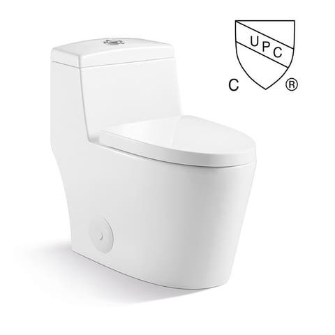 Kingsman Contemporary Modern Design, One Piece Dual Flush 1.2/1.6 Gpf,with Soft Closing toliet seat, Elongated Toilet Pure White