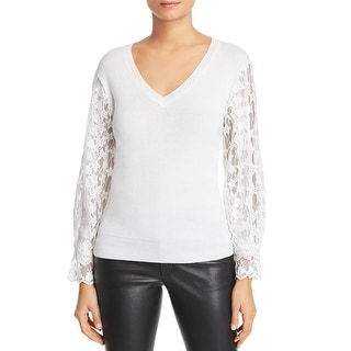 Link to Le Gali Doloris Women's Lace Sleeve V-Neck Pullover Sweater - White Similar Items in Women's Sweaters