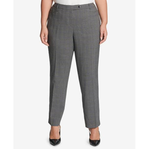 Calvin Klein Women's Dress Pants Gray Size 24W Plus Glen Plaid Stretch