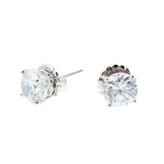 CZ by Kenneth Jay Lane Womens Radiant Rounds Post Earring Cubic Zirconia 4 Prong - Silver