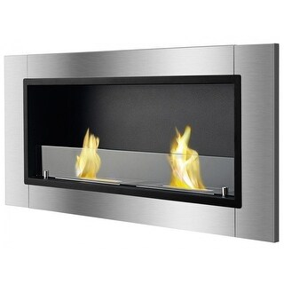 Ignis WMF-022G Lata Wall Mounted / Recessed Ventless Ethanol Fireplace with Glass Barrier - black, stainless steel