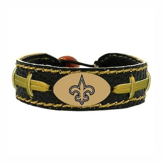 New Orleans Saints Team Color NFL Gamewear Leather Football Bracelet