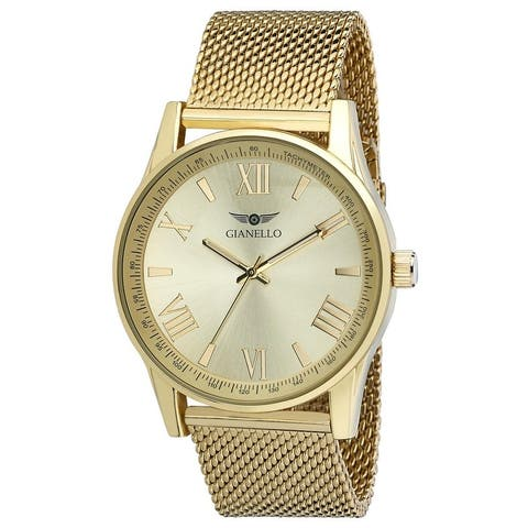 Gianello Roman Numeral Stainless Steel Unisex Mesh Watch