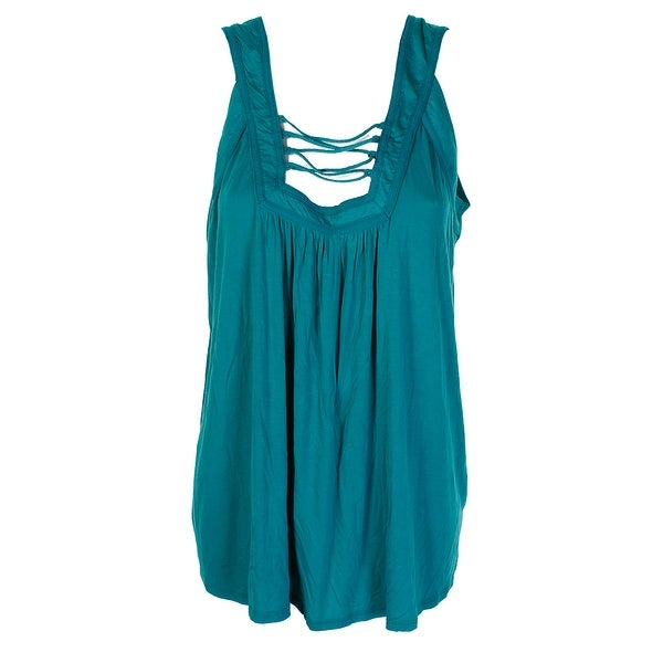 94f7999ab4d093 Shop Jessica Simpson Plus Size Green Strappy-Front Tank Top 2X ...