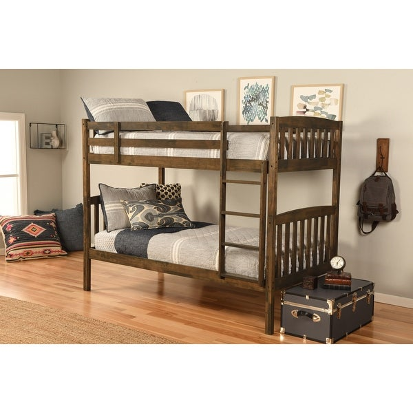 Somette Claire Twin Bunk Bed in Rustic Walnut Finish with Storage and Trundle Options. Opens flyout.