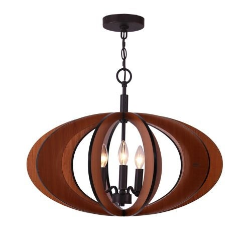 Woodbridge Lighting 14013-W1D2CH 3 Light Large Single Pendant from the Fins Collection