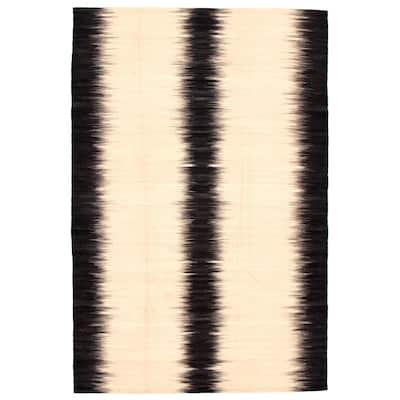 ECARPETGALLERY Flat-weave Ankara FW Beige Wool Kilim - 6'7 x 9'10