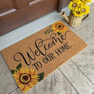 Farmhouse Living Welcome to Our Home Sunflower Coir Doormat
