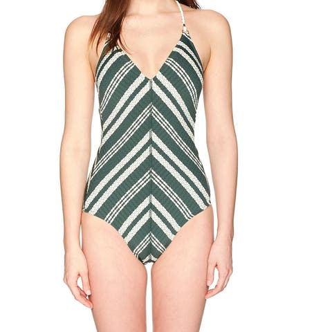 Robin Piccone Womens Swimwear Green Size 14 Braided Tie-Back One-Piece