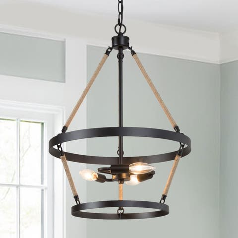 """3-Light Farmhouse Chandelier Round Pendant Lights with Hemp Rope for Dining Room - 16"""" D x 21.5"""" H"""
