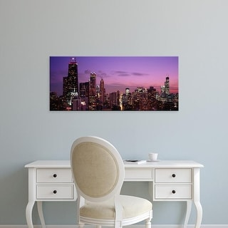 Easy Art Prints Panoramic Images's 'Buildings lit up at dusk, Chicago, Illinois, USA' Premium Canvas Art