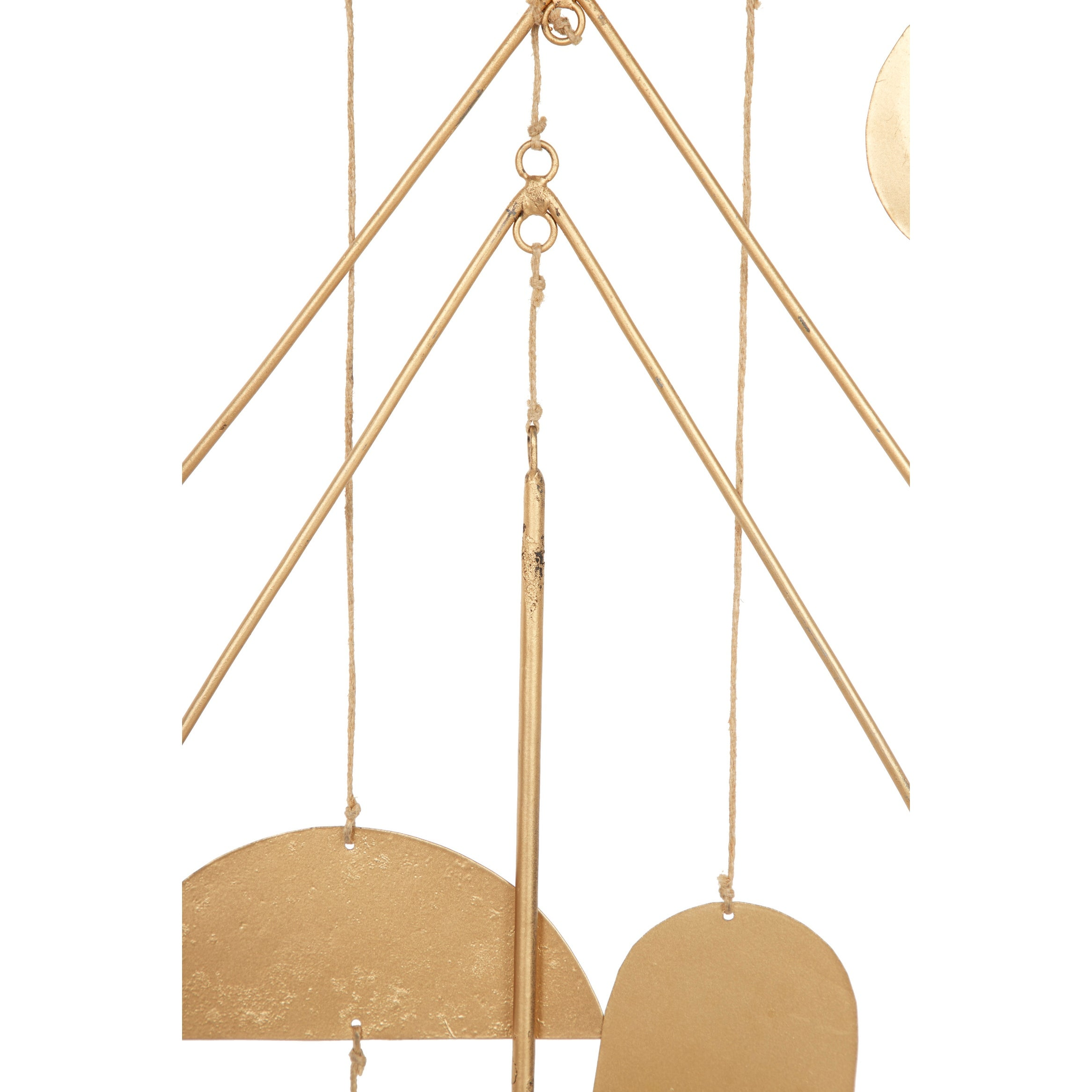 Set Of 2 Large Celestial Geometric Gold Metal Wind Chime W Driftwood Overstock 32168819