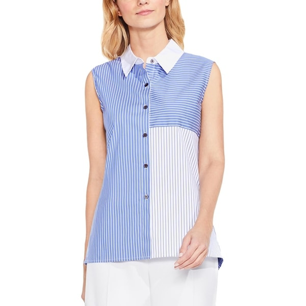 Vince Camuto Womens Button-Down Top Striped Sleeveless