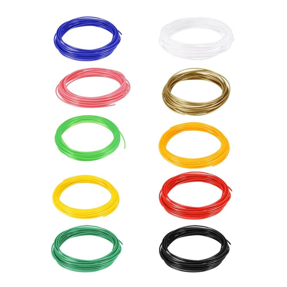 PLA 3D Printer Filament, 1.75 mm, 10 Color, Each 5 Meter/16 Ft, Total 50 Meter -  Unique Bargains