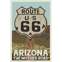 Arizona - Route 66 - Letterpress - LP Artwork (Art Print - Multiple Sizes)