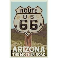 Arizona - Route 66 - Letterpress - LP Artwork (Art Print - Multiple Sizes)