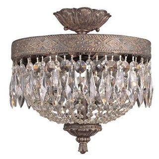 Trans Globe Lighting 8392 Crystal Two Light Semi Flush Ceiling Fixture from the Crystal Flair Collection