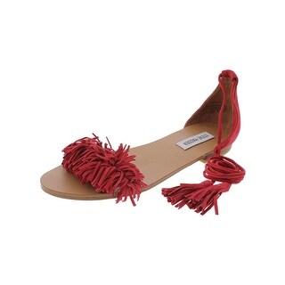 Steve Madden Womens Sweetyy Flat Sandals Open Toe Fringe