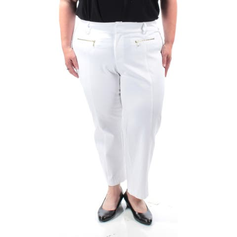 INC $70 Womens New 1137 White Curvy Fit Casual Pants 18 B+B