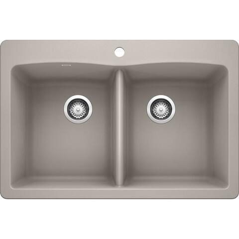 "Blanco 440221 Diamond 33"" Drop-In or Undermount Double Basin SILGRANIT"